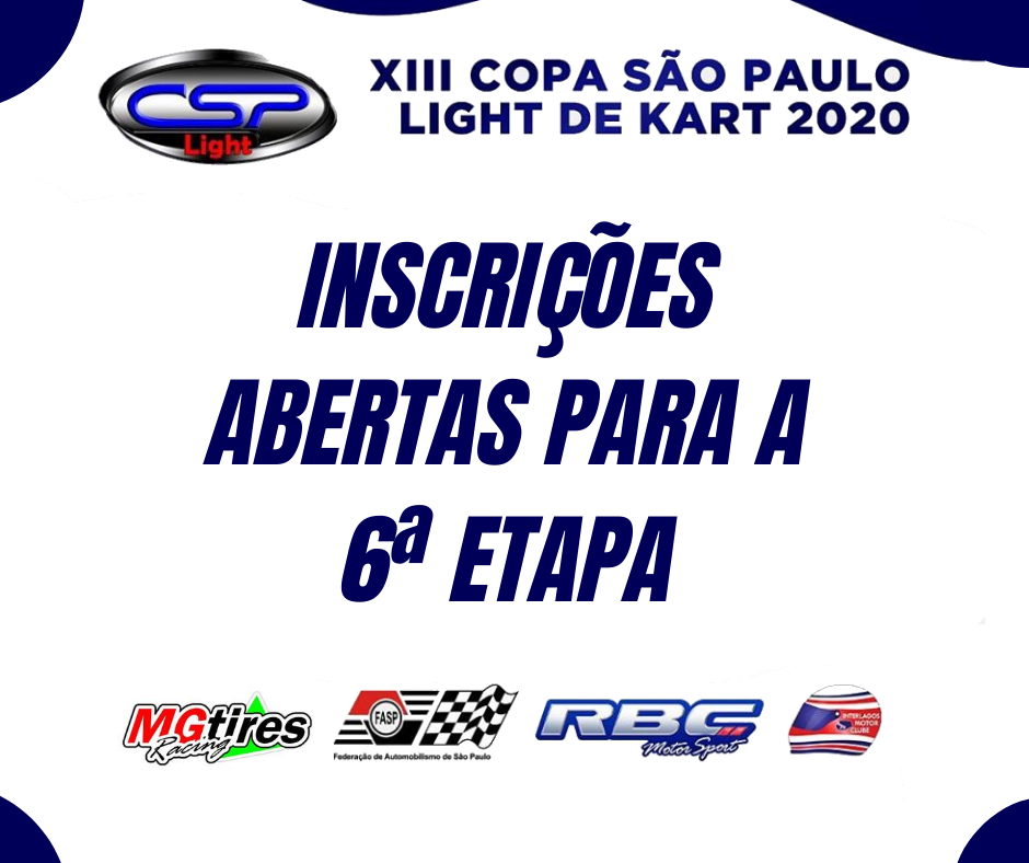 Estão abertas as inscrições para a 6° etapa da Copa São Paulo Light de Kart.